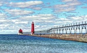 Grand Haven South Pierhead Entance Light and Inner Light on Lake Michigan