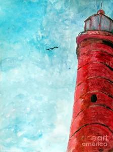 lake-michigan-red-lighthouse-art work